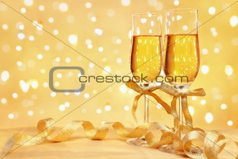 Champagne with blur light