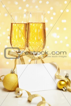 Champagne with blank invitation