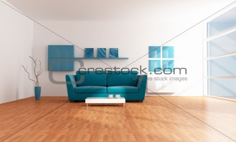bright blue modern  lounge