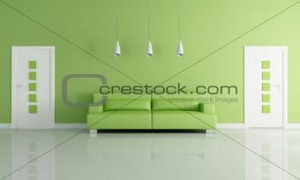green and white modern interior