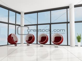 four red fashion armchair