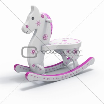 pink and white rocking horse