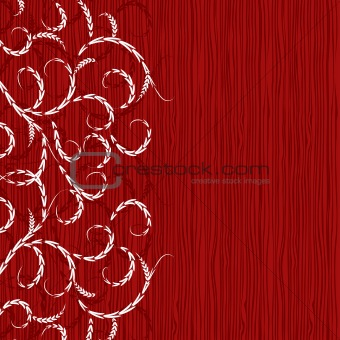 Abstract floral ornament on wooden background