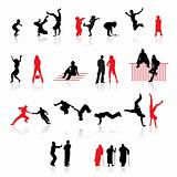 Silhouettes of people: fun children, couples, sport, old age