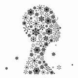 Stylized woman head, snowflakes. Winter season.