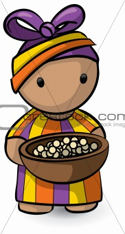 African Woman Holding Bowl of Food
