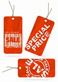 Set of red crumpled sale paper tags