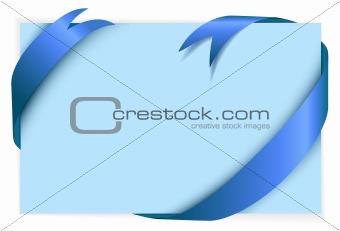 Blue ribbon around blank light blue paper