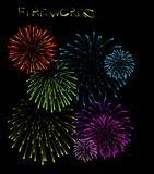 Set of fireworks illustrations