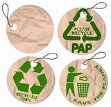 grunge paper tags for recycling