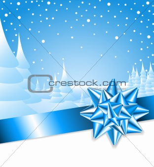 Ble ribbon with bow and Christmas landscape