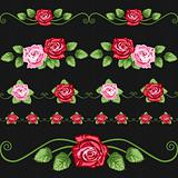 Vintage roses on the black