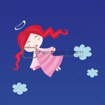 Little child in angel costume