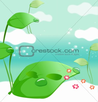 Green plants on clouds