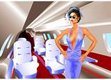 Elegant Woman in a Private Jet