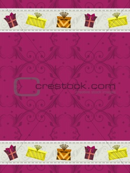 abstract pink background with gifts