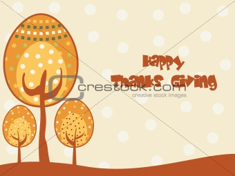 abstract background with thanksgiving text and tree
