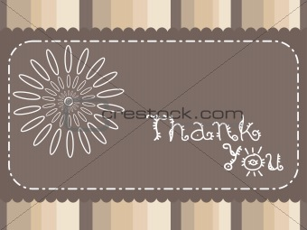 abstract brown background with flower and thankyou text