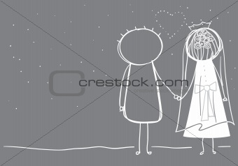 Bride and Groom looking at the stars