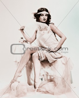 Exquisite lady in boudoir, retro portrait