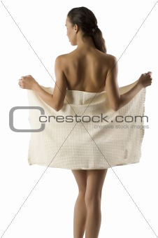 beauty girl taking off towel