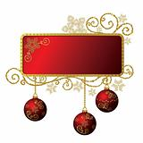 Red & gold Christmas frame isolated