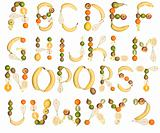 The Alphabet formed by fruits