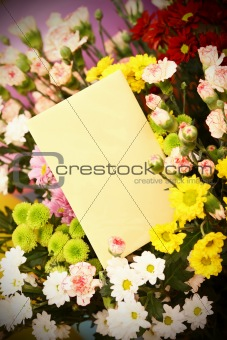 blank card and flowers