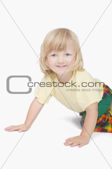 boy with long blond hair looking at camera - clipping path