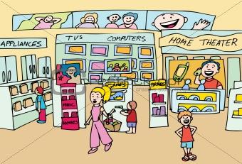 Image Description: People shop at a local electronics store.