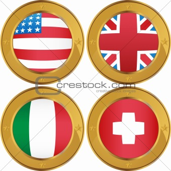 Flag Coins: USA, UK, Italy, Switzerland