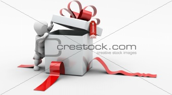 Man in Christmas Gift Box