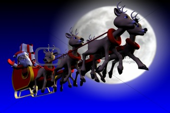Santa is flying in front of the moon