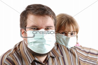 people with surgical face masks