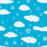 seamless snowflakes and clouds