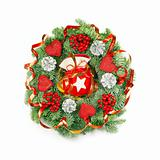 Expressive Christmas Wreath on White