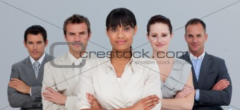 Afro-American businesswoman leading her team