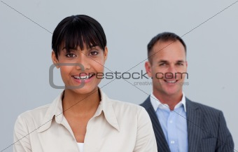 Afro-American businesswoman with her manager