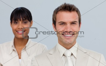Attractive businessman with his colleague