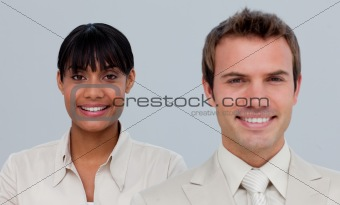 Smiling Afro-American businesswoman with her colleague