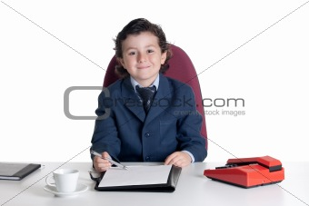 Little businessman in the office
