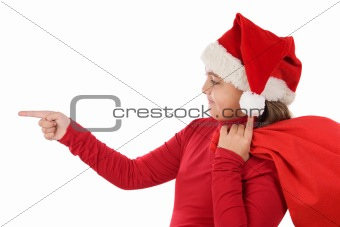 Beautiful girl with hat of christmas indicating