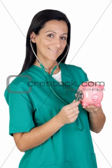 Attractive doctor performing a medical examination pink piggy-ba
