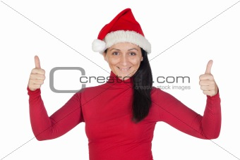 Beautiful girl with Christmas hat accepting