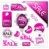 Set of pink sale tickets and labels