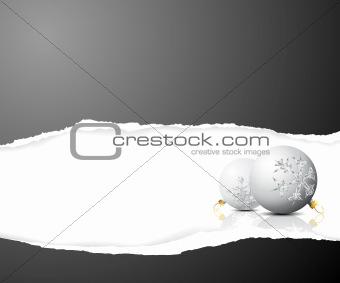 Christmas card - black and white bulbs