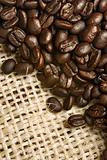 Coffee beans from canvas sack