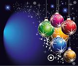 Various Christmas Balls Background with Snowflakes and stars