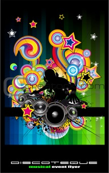 Discoteque Flyer with Abstract DJ silhouette.
