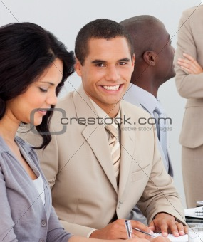 Potrait of a business team at a presentation